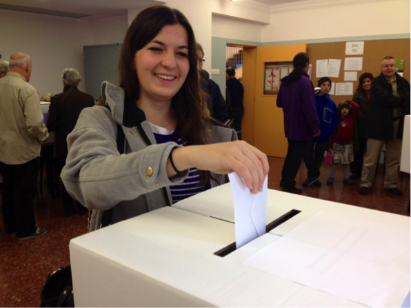 Clara Rodríguez-Solé Casting Her Vote on November 9, 2014