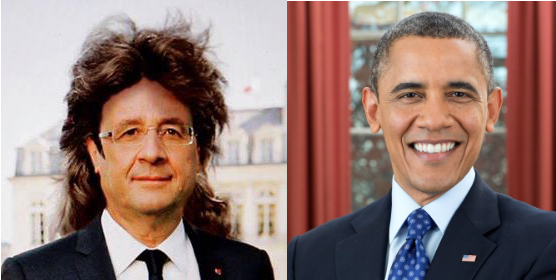 François Hollande (left) Credits: Le Petit Journal  Barack Obama (right) Credits: Official Presidential Portrait from White House