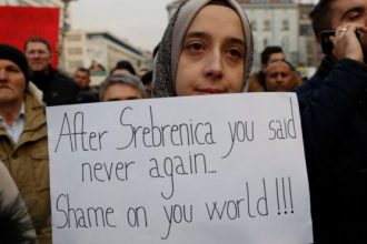 People in Sarajevo gather to protest bloodshed in Aleppo